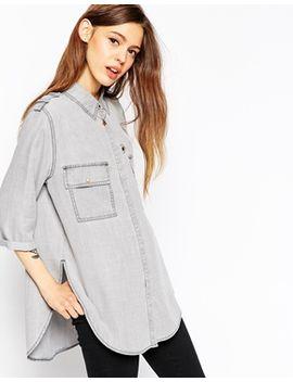 camisa-holgada-en-vaquero-gris-de-asos by asos