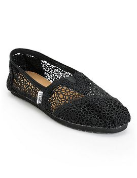toms-classics-black-crochet-womens-slip-on-shoes by toms-shoes