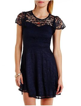 flutter-sleeve-lace-skater-dress by charlotte-russe
