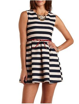 belted-&-striped-skater-dress by charlotte-russe