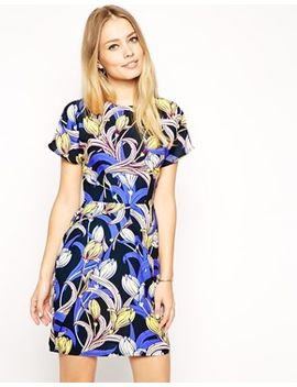 asos-mini-wiggle-dress-in-crepe-with-tulip-print by asos-collection