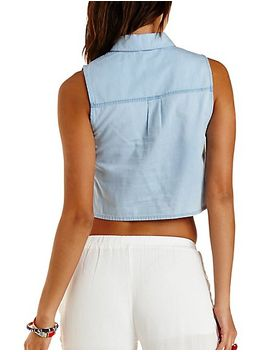 button-up-chambray-crop-top by charlotte-russe