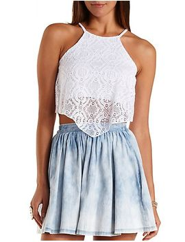 racer-front-lace-crop-top by charlotte-russe