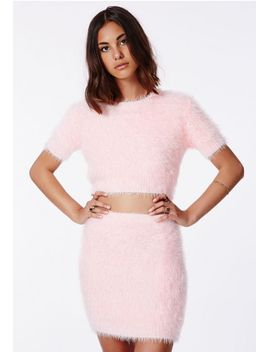 ashlyn-fluffy-knit-mini-skirt-baby-pink by missguided