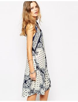 glamorous-sleeveless-swing-dress-in-wallpaper-border-print by glamorous