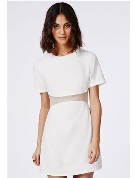 mesh-waist-detail-mini-dress-white by missguided