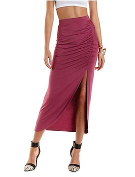 ruched-tulip-slit-maxi-skirt by charlotte-russe