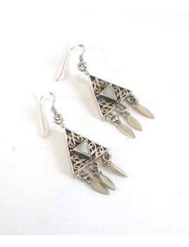 mother-of-pearl-earrings----mop-dangle-pierced-earrings---boho-hippie-earrings---vintage-jewelry by paleorama