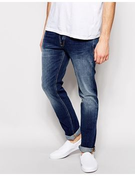 nudie-jeans-tape-ted-tapered-slim-fit-stretch-raddled-redcast by nudie