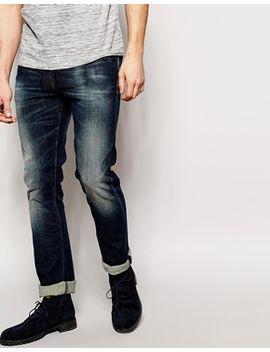nudie-jeans-tube-tom-skinny-fit-stretch-navy-worn-in by nudie