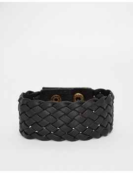 asos-plaited-cuff-bracelet-in-black by asos