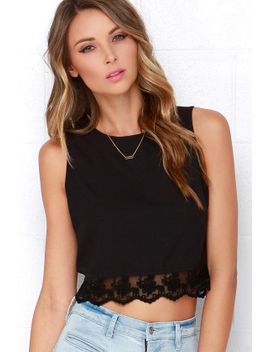 baltic-border-black-lace-crop-top by lulus