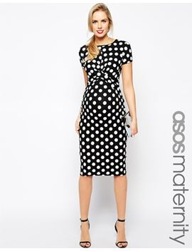 asos-maternity-exclusive-body-conscious-dress-in-polka-dot--with-cross-front by asos-maternity