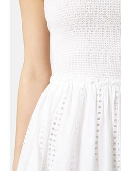 smocked-cotton-bandeau-dress by topshop
