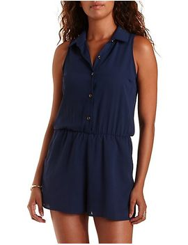 sleeveless-chiffon-button-up-romper by charlotte-russe