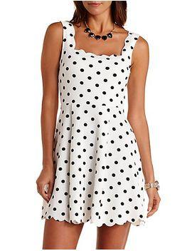 scalloped-polka-dot-skater-dress by charlotte-russe