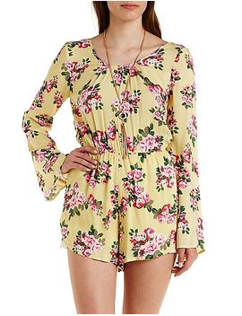caged-back-bell-sleeve-floral-romper by charlotte-russe