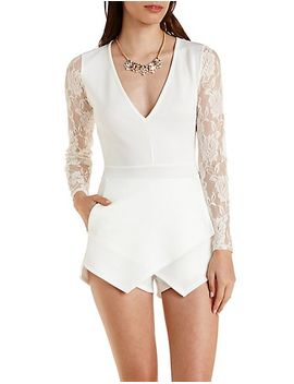 lace-long-sleeve-envelope-romper by charlotte-russe