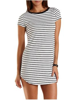 striped-curved-hem-t-shirt-dress by charlotte-russe