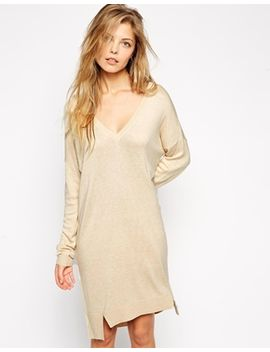 asos-jumper-dress-with-v-neck-in-fine-knit by asos-collection