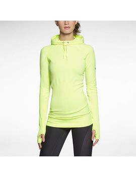 nwt-nike-womens-pro-hyperwarm-fitted-seamless-pullover-hoodie-$125-volt-548770-m by nike