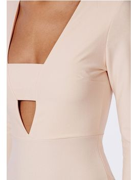 crepe-long-sleeve-plunge-bodycon-dress-nude by missguided