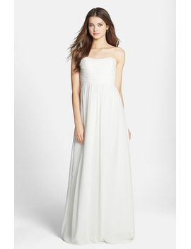 stephanie-strapless-ruched-chiffon-gown by donna-morgan