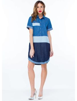 denim-hues-colorblock-shift-dress by gojane