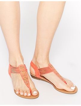 new-look-galactic-coral-toe-post-flat-sandals by new-look