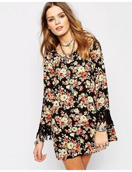 glamorous-floral-printed-swing-dress-with-crochet-sleeve by glamorous