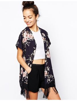 new-look-botanical-floral-print-kimono-with-fringing by new-look