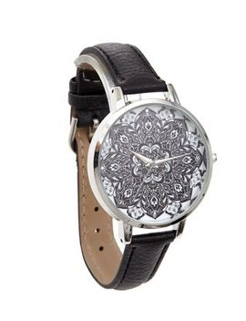 black-tropical-print-dial-watch by new-look