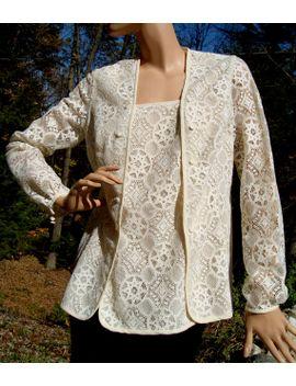 vintage-1960s-lace-blouse-cream-off-white-cotton-coton-size-large by piperart