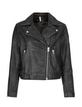 authentic-washed-leather-biker-jacket by topshop