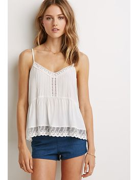 floral-crochet-trimmed-cami by forever-21
