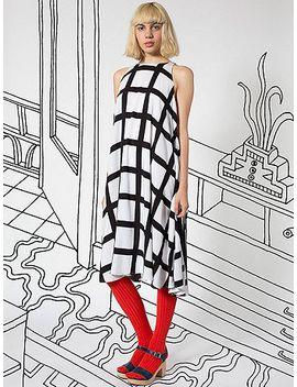 nathalie-du-pasquier-gaza-print-rayon-tent-dress by american-apparel