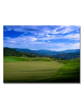 red-pin-on-the-green-canvas-golf-art--photographic-print-on-canvas by trademark-art