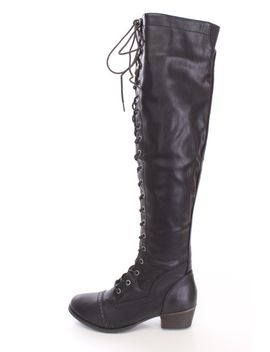 black-lace-up-thigh-high-boots-faux-leather by ami-clubwear
