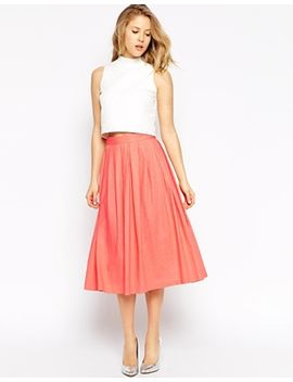 asos-pleated-midi-linen-skirt by asos-collection