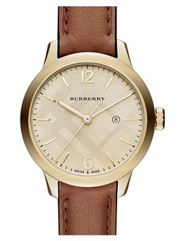 check-stamped-dial-leather-strap-watch,-32mm by burberry