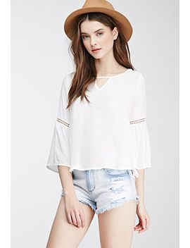crochet-trimmed-woven-blouse by forever-21