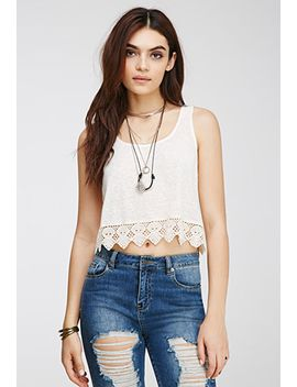 boxy-crochet-trimmed-top by forever-21