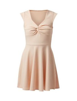 cameo-rose-shell-pink-knot-front-skater-dress by new-look