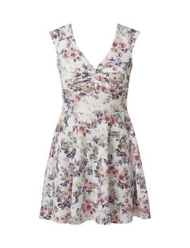 cameo-rose-white-floral-print-knot-front-skater-dress by new-look