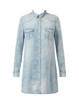anita-and-green-blue-acid-wash-shirt-dress by new-look