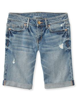 destroyed-light-wash-denim-bermuda-shorts by aeropostale