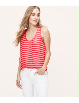 striped-rib-trim-tank by loft