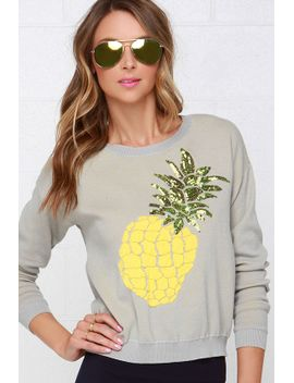 wilde-heart-pineapple-crush-grey-sequin-sweater by lulus