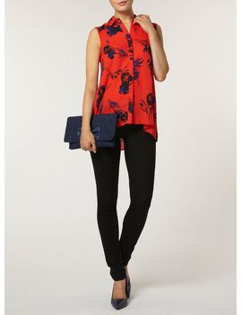 red-floral-sleeveless-shirt by dorothy-perkins
