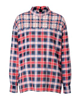 cotton-plaid-shirt-with-lace-yolk by msgm